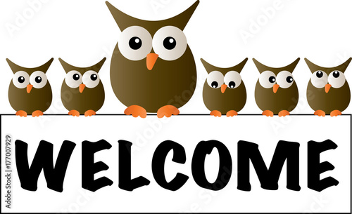 Foto op Plexiglas Uilen cartoon cool owls welcome header
