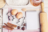 Ingredients for christmas baking and recipe notebook - 177012945