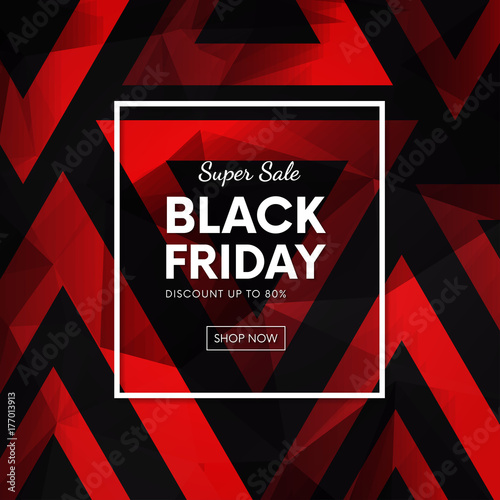 Black friday sale vector banner. Special offer with abstract geometric polygonal backdrop.