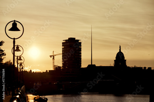 Dublin skyline at sunset Poster