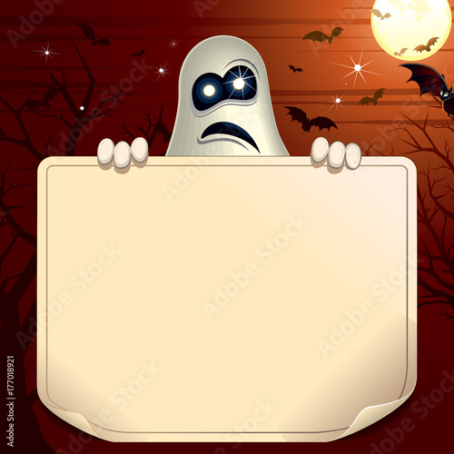 Ghosts holding Empty Scroll. Halloween Background