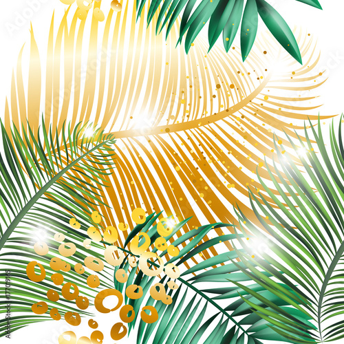Beautiful tropical summer seamless pattern. Realistic palm leaves, green and golden colors with glitter, sparkles and shine on white background. Vector illustration