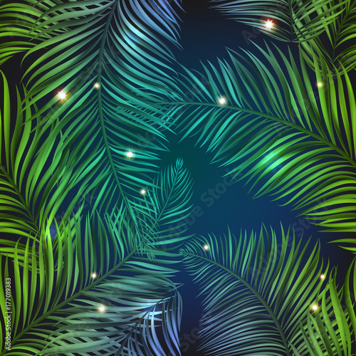 Neon jungle, electric tropical glitch summer seamless pattern. Beautiful, realistic palm leaves with neon glow, purple and blue color with shiny stars, sparkles and glow