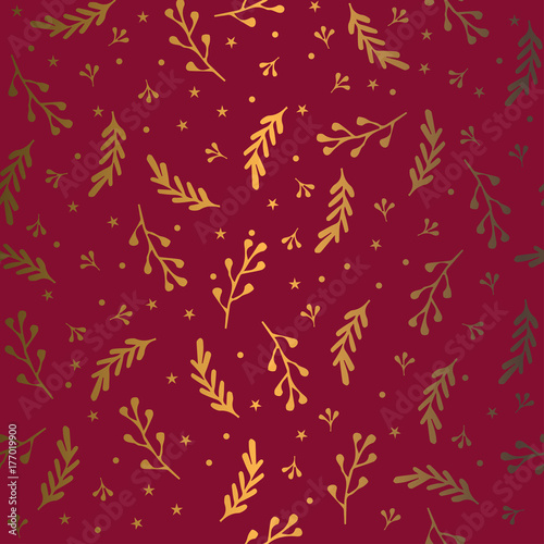 Cotton fabric Seamless festive pattern. Vector ornament. Gold branch on a red background.