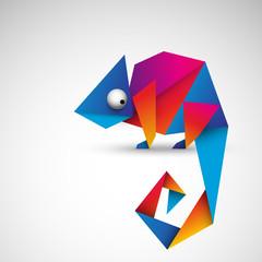 kolorowy kameleon origami wektor