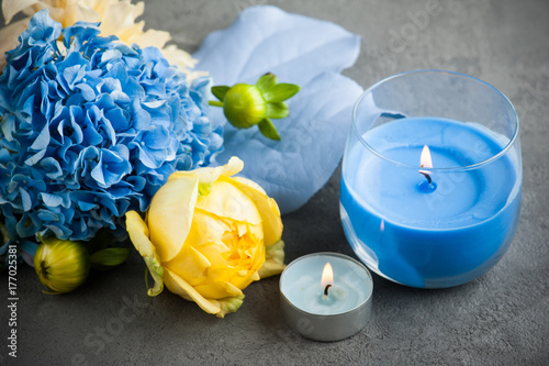 Yellow rose and blue hydrangea bouquet