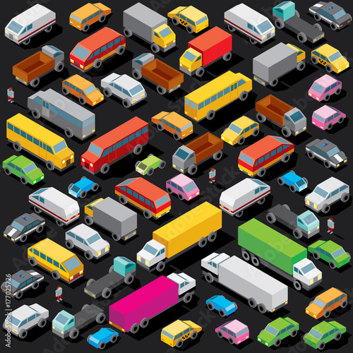 Fridge magnet Isometric Cars Parking. Vector Image