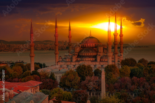 The Blue Mosque, (Sultanahmet), Istanbul, Turkey. Poster