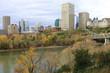 Edmonton city center with colorful aspen in autumn