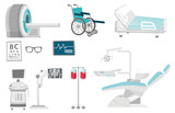 Medical equipment illustrations set. Collection of medical equipment including hospital bed, MRI, x-ray scanner, wheelchair, dental chair. Vector cartoon illustrations isolated on white background. - 177033543