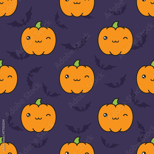 Seamless halloween pattern with winking kawaii style pumpkins on dark violet background with silhouettes of flittermouse. - 177033554