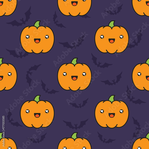 Seamless halloween pattern with pumpkins on dark violet background with silhouettes of flittermouse. - 177033585