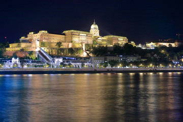 The Royal Palace in Budapest in the night illumination.