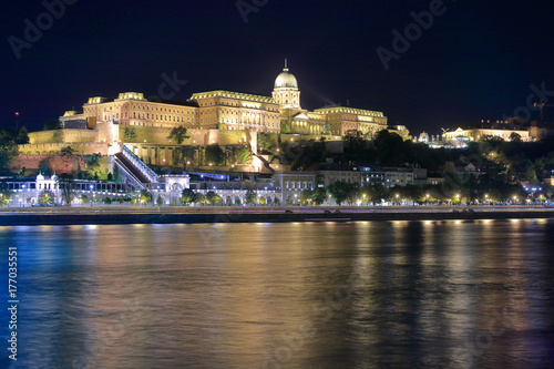 The Royal Palace in Budapest in the night illumination. Poster