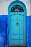 Ancient oriental blue door in Morocco. - 177049778