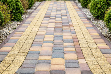 Paving cube in garden, pavement structure