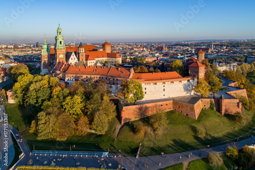 Foto op Plexiglas Krakau Cracow Skyline with Wawel Castle and Cathedral in Fall