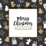 Christmas background with golden and white christmas elements - 177053740