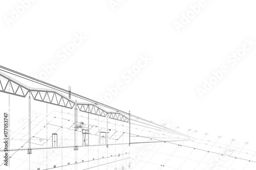 Fototapeta Background -architectural drawing of industrial building