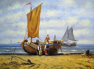 Ships, fisherman, sea  landscape. Oil paintings, canvas, art