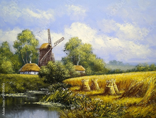 Windmill, village landscape. Oil paintings, canvas, art © yaroslavartist