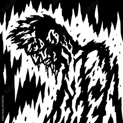 The demon is bleeding when its head is down. Vector illustration.
