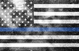 Police Support Flag Worn Textured Background - 177055965