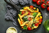 Whole wheat pasta with vegetables.Top view  . - 177056590