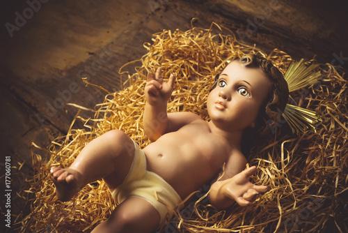 Baby Jesus old figurine Poster