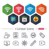 Wifi Wireless Network icons. Wi-fi zone locked. - 177065779