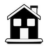 house or home with chimney icon image vector illustration design  black and white - 177066755