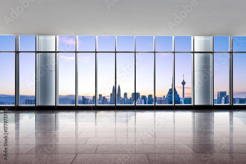 empty office with cityscape of kuala lumpur Poster