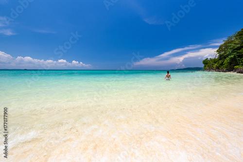 Beautiful beach of bamboo island near Phi Phi island in Krabi, Thailand Poster