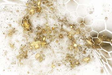 Fantastic explosion. Abstract textured golden drops on white background. Digital fractal art. 3D rendering.