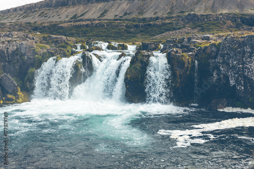 Summer Iceland Landscape with a Waterfall - 177079769