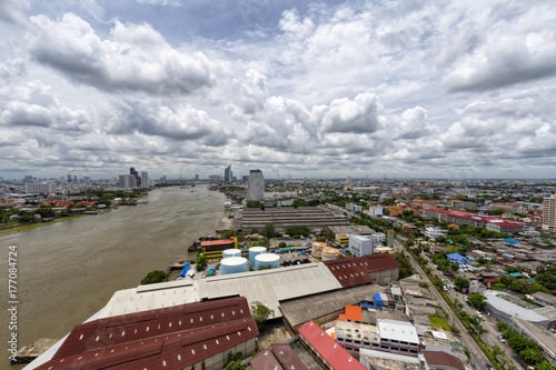 Aerial view looking downriver of the Chao Praya in Bangkok, Thailand Poster