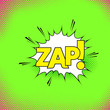 White pop-art style explosion cloud with text zap retro background