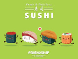 Vintage Sushi poster design with vector sushi character. Chinese word means sushi. - 177085302