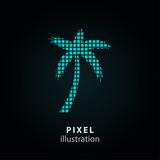 Palm tree - pixel illustration.
