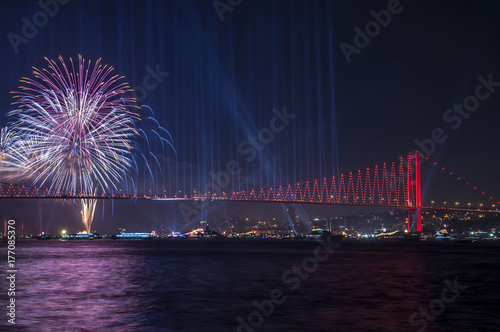 Fireworks over Istanbul Bosphorus during Turkish Republic Day celebrations Poster