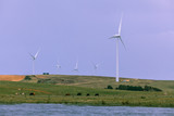 Many wind turbines in agricultural rural area of Australia - 177088772