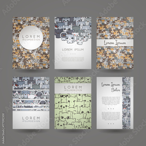 Set of card templates with cute cartoon cats and dogs with different emotions. - 177092300