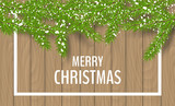 Winter frame banner with snowy pine branches and brown wood texture background. Vector illustration for Christmas and December holiday season design - 177092509
