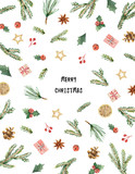 Watercolor vector Christmas card with fir branches and place for text. - 177094117