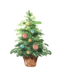 Watercolor vector greeting card with Christmas tree. - 177094145