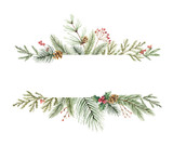Watercolor vector Christmas banner with fir branches and place for text. - 177094156