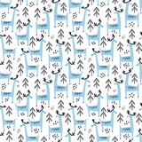 Blue deer vector seamless pattern