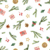 Watercolor vector Christmas seamless pattern with fir branches, gifts and cones. - 177094181