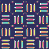 vibrant seamless pattern with pencils in memphis style - 177095365