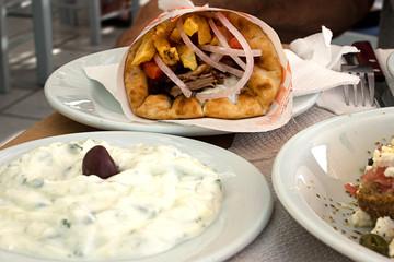 Tzatziki and Gyros Pita - Typical greek delicious meal. Naxos